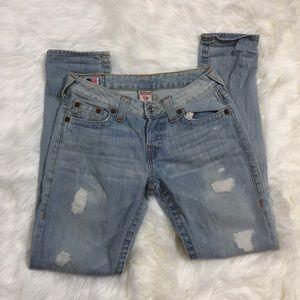 True Religion Distressed Brianna Skinny Jeans